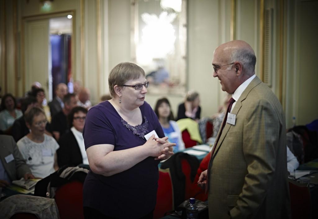 Dr. MacDonald talking to Dr. Marie Kroun